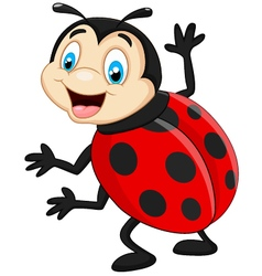 Cartoon ladybug waving vector