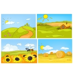Cartoon set of summer backgrounds vector