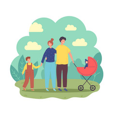 Cheerful family walks in park rest at nature vector