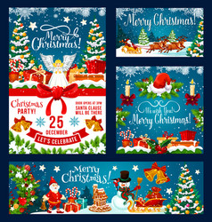 Christmas holiday posters set vector