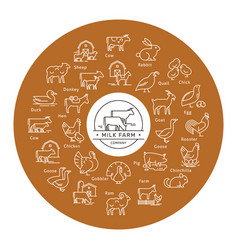 Circular icon set in a line style farm vector