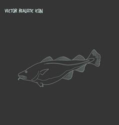 Cod fish icon line element of vector