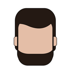 Color graphic faceless front view man with beard vector