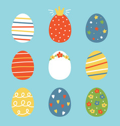 colorful doodle easter eggs vector image