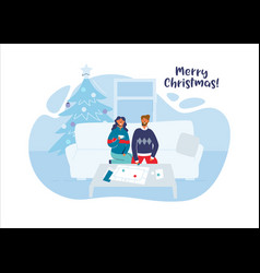 couple celebrating christmas together at home vector image