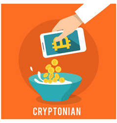 cryptonian concept hand pour smartphone withh gold vector image