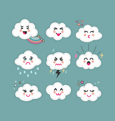 Cute abstract clouds emoji icons set on blue sky vector
