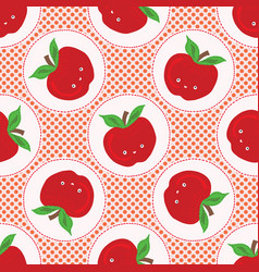 Cute apple polka dot seamless vector