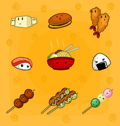 Cute cartoon mural doodle eye japanese food vector