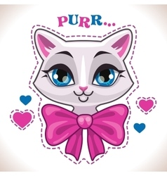 Cute cartoon white cat vector image