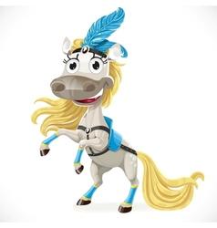 Cute circus horse on hind legs vector