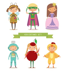 Cute kids in different costume vector