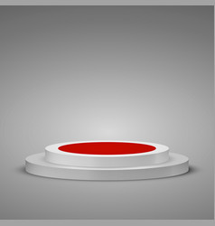 Cylindrical podium with red carpet stage podium vector