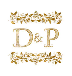 D and p vintage initials logo symbol letters vector