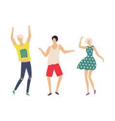 dancing people in good mood isolated characters vector image