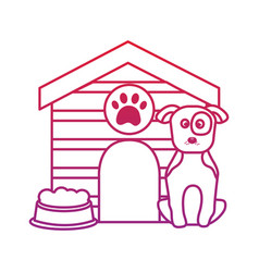 Dog with house and food bowl pet icon image bir vector