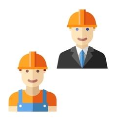 Engineer worker flat avatar set vector