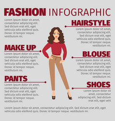 fashion infographic with girl in sweater vector image