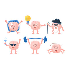 Flat set of funny humanized brains with vector