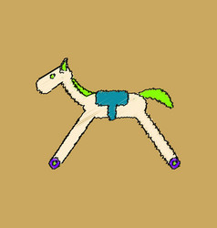 Flat shading style icon kids rocking horse vector
