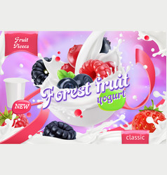 Forest fruit yogurt mixed berry and milk splashes vector
