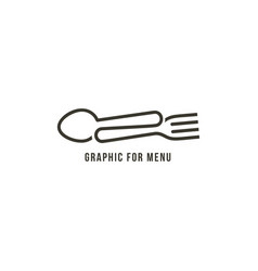 fork and spoon drawn one line line art style vector image