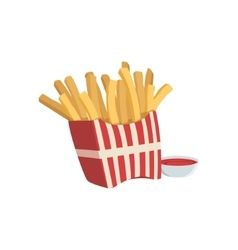 French Fries And Ketchup Street Food Menu Item vector image