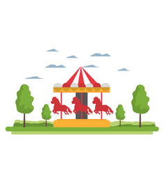 Funny mechanical horse ride carnival vector