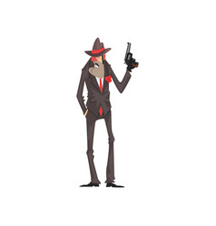 Gangster criminal character in a suit and fedora vector