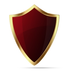 Glittering red shield with gold body isolated vector