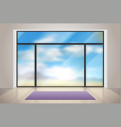 Gym glass realistic room with big glass window vector