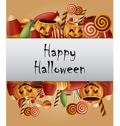 Halloween background pumpkins basket and collected vector