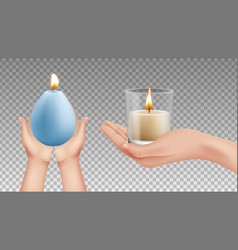 hands holding candles realistic lights religion vector image