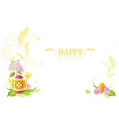 Happy Easter banner border Spring landscape - vector image