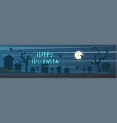 Happy halloween banner cemetery graveyard vector
