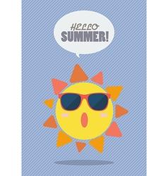 Hello Summer with summer sun vector
