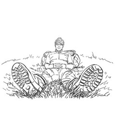 high perspective drawing hiker man sitting vector image
