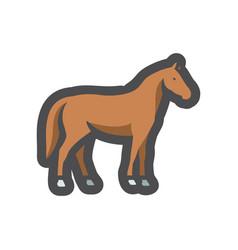 horse farm animal silhouette icon cartoon vector image