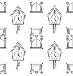 Hourglass and cuckoo clock black and white vector