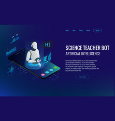 Isometric science teacher bot concept artificial vector