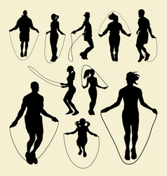 Jump rope sport activity silhouette vector