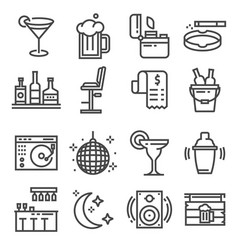 line bar and pub icons set vector image