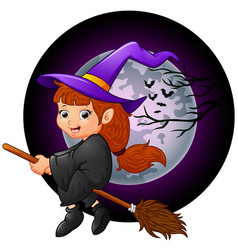 little witch cartoon flying vector image