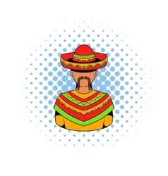 Mexican man icon comics style vector