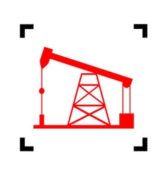 oil drilling rig sign red icon inside vector image