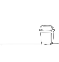 one single line drawing plastic recycle bin vector image
