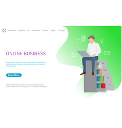 online business web poster man sitting on shelves vector image