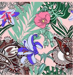 Original trendy seamless artistic flower pattern vector