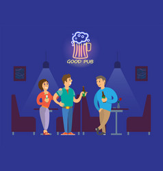 people drinking alcohol in good neon pub vector image