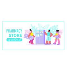 Pharmacy store flat banner vector